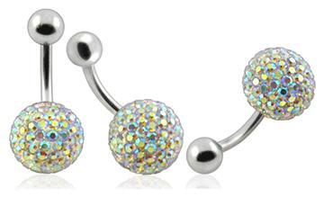 Piercing Crystal kulička se stříbrnou kuličkou PBSW00004
