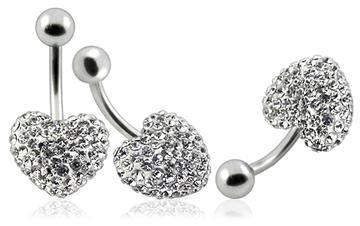Piercing Crystal srdce se stříbrnou kuličkou PBSW00006