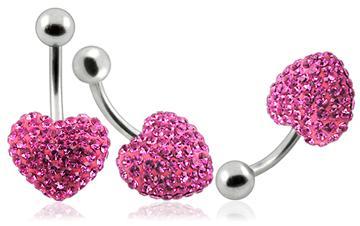 Piercing Crystal srdce se stříbrnou kuličkou PBSW00007