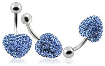 Piercing Crystal srdce se stříbrnou kuličkou PBSW00008