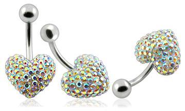 Piercing Crystal srdce se stříbrnou kuličkou PBSW00009