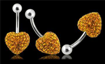 Piercing Crystal srdce se stříbrnou kuličkou PBSW00010