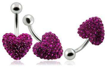 Piercing Crystal srdce se stříbrnou kuličkou PBSW00012