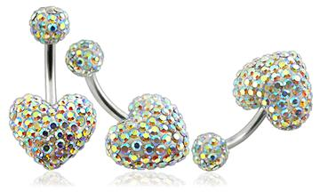 Piercing Crystal srdce s crystal kuličkou PBSW00021