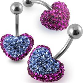 Piercing Crystal srdce se stříbrnou kuličkou PBSW00016