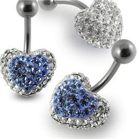 Piercing Crystal srdce se stříbrnou kuličkou PBSW00015
