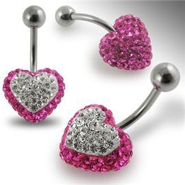 Piercing Crystal srdce se stříbrnou kuličkou PBSW00014