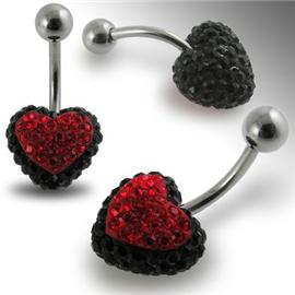 Piercing Crystal srdce se stříbrnou kuličkou PBSW00017