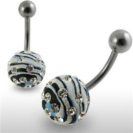 Piercing se stříbrnou kuličkou a příslušenstvím s krystaly PBSW00040
