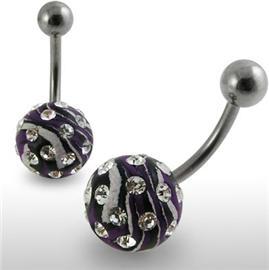 Piercing se stříbrnou kuličkou a příslušenstvím s krystaly PBSW00042