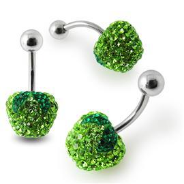 Piercing se stříbrnou kuličkou a příslušenstvím s krystaly PBSW00043
