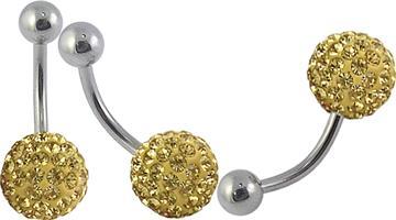 Piercing se stříbrnou kuličkou a kuličkou s krystaly PBSW00044