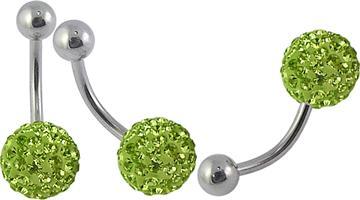 Piercing se stříbrnou kuličkou a kuličkou s krystaly PBSW00045