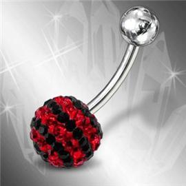 Piercing se stříbrnou kuličkou a kuličkou s krystaly PBSW00046