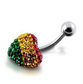 Piercing se stříbrnou kuličkou a srdíčkem s krystaly PBSW00048