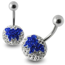 Piercing se stříbrnou kuličkou a kuličkou s krystaly PBSW00052