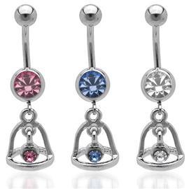Piercing do pupíku - Zvonící zvoneček osazený kamínkem PBV00392