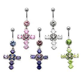 Piercing do pupíku - Visací kříž s kamínky  PBV00402