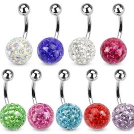 Piercing ze stříbrnou kuličkou a kuličkou s krystaly PBSW00056