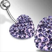 Piercing se stříbrnou kuličkou a srdíčkem s krystaly PBSW00057