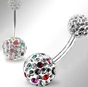 Piercing do pupíku s kuličkami s krystaly PBSW00059
