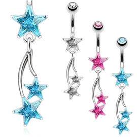 Piercing do pupíku - hvězdičky PBV00543