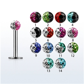 Labreta s kuličkou s krystaly PLA00220