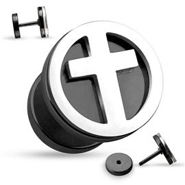 Falešný piercing - kříž PFA00263