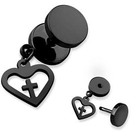 Falešný piercing - srdíčko s křížem PFA00266