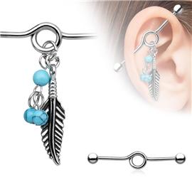 Industrial piercing s lístkem PIN00043