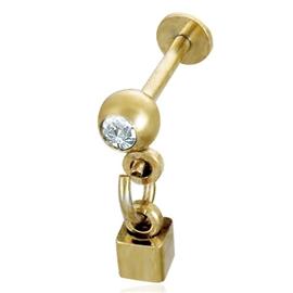 Labreta s kuličkou s kamínkem a kostkou PLA00228