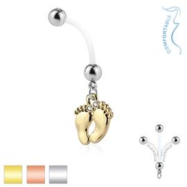 Těhotenský piercing do pupíku - chodidla PBV00567