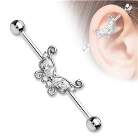 Industrial piercing s motýlek a kamínky PIN00054