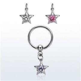Piercing kroužek - hvězdička PKR00098