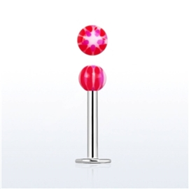 Labreta s kuličkou s kytičkou PLA00254