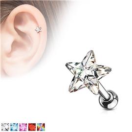Činka do ucha - hvězdička s barevným kamínkem PNC00108