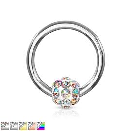 Piercing kroužek s kuličkou s krystaly PKR00105