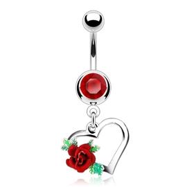 Piercing do pupíku se srdíčkem a růžičkou PBV00572