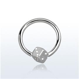 Piercing kroužek - hrací kostka PKR00107