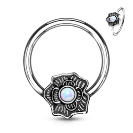 Piercing kroužek - kytka s kamínkem PKR00111
