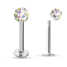 Labreta s kuličkou a krystaly PLA00222