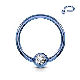 Piercing kroužek - kulička s kamínkem PKR00116