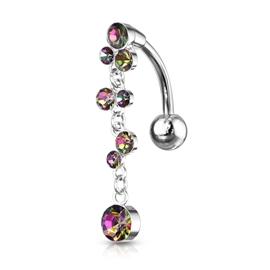 Piercing do pupíku - bublinky s kamínky PBV00577